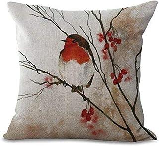 YUHANG 20 x 20 Inches Cotton Linen Decorative Cushion Cover Pillowcase Purple Blue Aqua Hummingbird Birds Red Tropical Throw Pillow Cover