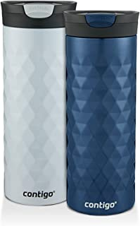 Contigo SnapSeal Kenton Travel Mugs, 20 oz, Polar White & Monaco, 2-Pack