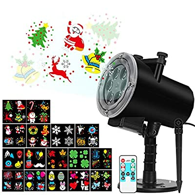 Halloween Christmas Projector Lights, Upgraded 16 Slides Waterproof IP65 Outdoor Landscape 6W Motion LED Projection Lights, 16ft Power Cable for Decoration Lighting on Holiday Birthday Wedding Party