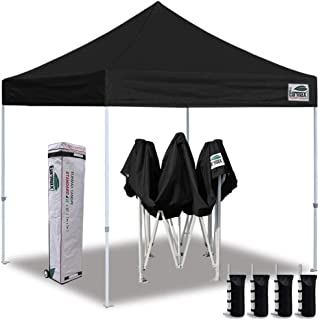 Eurmax 10'x10' Ez Pop Up Canopy Tent Commercial Instant Canopies with Heavy Duty Roller Bag,Bonus 4 Sand Weights Bags (Pure Black)