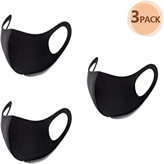 TWBB 3Pcs Black Face Mask Reusable Mask 3D Fashion Face Mask Washable Mask for Cycling Camping Travel For Adults Men Women