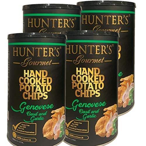 ハンター ポテトチップス ジェノベーゼバジル&ガーリック 150g 缶 4個