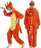 YULOONG Pijama de dinosaurio para adultos, disfraz de Halloween, fiesta de Navidad, disfraz de cosplay para mujeres y hombres - naranja - Large