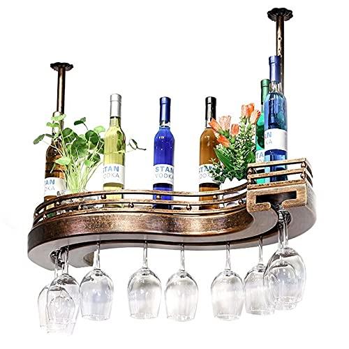 Estante De Vino De Hierro De Metal Tipo S Soportes De Vidrio para Copas Colgante De Techo Estante para Botellas De Vino Champagne Cocktail Martini Cristalería Rack Bar Decoración del Hogar Estante