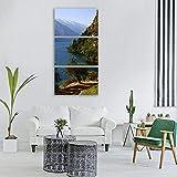 Gyybfhn 3 Piezas Lienzo Pintura,Impresiones en Lienzo 3 Piezas/Set,Moderno Pared Cuadros decoración del hogar Sala de Estar Dormitorio,Regalo Creativo,50cmx70cmx3(Marco) Lago de Garda, en, Italia