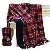Beskie - Coperta in pile per divano, letto, da viaggio, motivo tartan rosso, nero, decorazione per la casa a quadretti