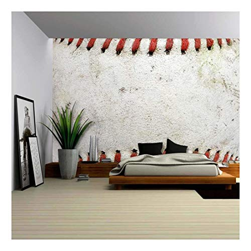 wall26 - Macro Image of a Used Baseball. - Removable Wall Mural | Self-adhesive Large Wallpaper - 100x144 inches