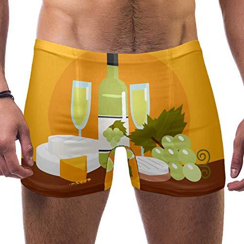LORVIES Witte Wijn Druif Print Mannen Zwemmen Boxer Briefs Korte Vierkante Been Badpak Snelle Droge Zwemkleding, S