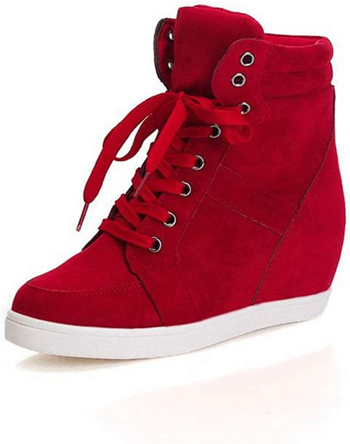ASO-SLING Hidden Heel Wedge Sneakers Platform for Women Anti-Slip Lace-up Ankle Predection Walking shoes