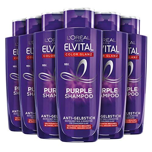 L'Oréal Paris Elvital Shampoo für blondes, gesträhntes, graues Haar, Neutralisiert Gelbtöne, Color Glanz Purple Silbershampoo für Anti-Gelbstich, 6 x 200 ml