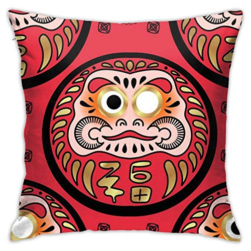 ChenZhuang Daruma Doll Throw Pillow Covers Decorative Pillowcases Square Cushion Cases for Living Room,Couch,Bed