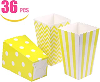 Tvoip 36Pcs/Lot Colorful Favor Candy Treat Popcorn Boxes for Candy&Food&Chocolate Wedding&Birthday&Movie Party Supplies (Yellow)