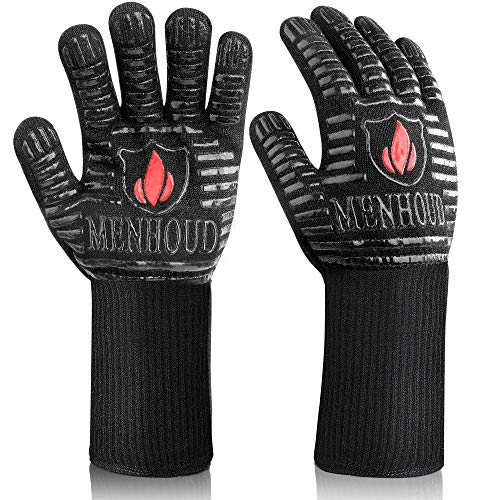 [Latest 2021] BBQ Gloves, 1472℉ Extreme Heat Resistant, Food Grade Kitchen Oven Gloves, Smoker, Grill, Cooking Barbecue to Handling Heat Food Right on Fryer, Fireproof, Oil Resistant Neoprene Coating