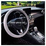 ACDRX Cubiertas del Volante Seda del Hielo,Fundas para Volante Confortable,Universal M 37-38cm,Gray Three Piece Set