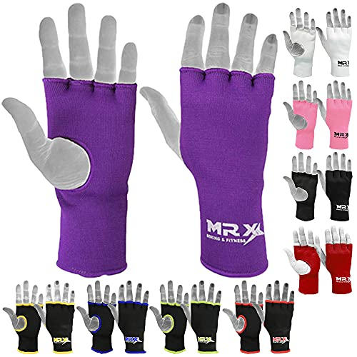 Muay Thai Boxing Inner Gloves Protective Hand Wrap MMA Fist (Purple, Small)