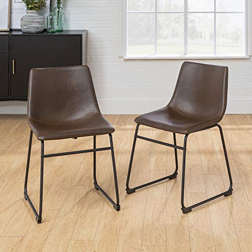 "Walker Edison Furniture Company 18"" Industrial Faux Leather Armless Indoor Kitchen Dining Chair with Metal Legs Upholstered, Set Of 2, Brown"