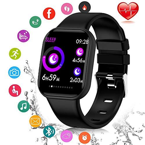 LQQZZZ Wasserdicht intelligente Uhr, Bluetooth Männer intelligente Uhr Herzfrequenz Blutdruck Aktivitätsmonitor mit Schlafüberwachung Informationen Erinnerung