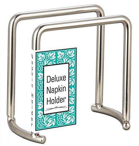 Deluxe Brushed Steel Napkin Holder Weighted Self Standing