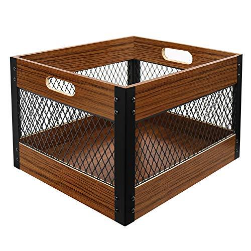 X-cosrack Brown Wood Storage Crates, Industrial Wooden Crate Storage Box Rustic Wood Crate Vintage Farm Shop Style Wooden Slatted Crate Display
