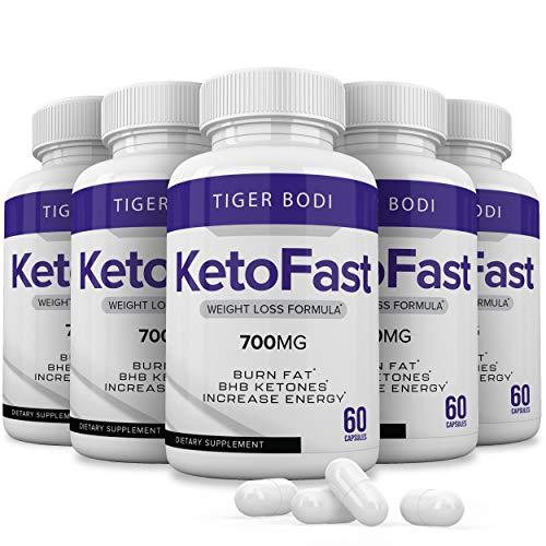 (5 Pack) Keto Fast Diet Pills, Keto Fast 700 mg Burn Capsules - Pure Keto Fast Supplement for Energy - BHB Ultra Boost Exogenous Ketones for Rapid Ketosis for Men Women