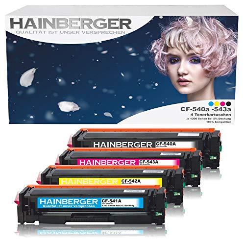 4er Pack Hainberger© Toner Kompatibel zu HP CF540A CF541A CF542A CF543A für Color Laserjet Pro M-280nw M-281fdn M-281fdw M-254nw M-254dw - cf540a cf541a cf542a cf543a - 203A