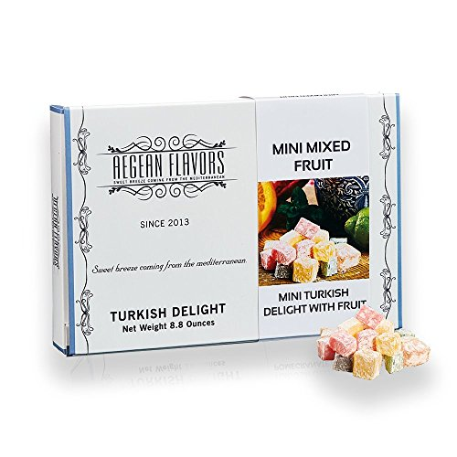 Mini Turkish Delight with Mix Fruits - Sweet Confectionery Gourmet Gift Box Candy Dessert 8.8 Oz