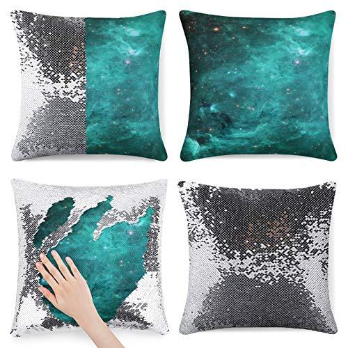 Traasd11an Funda de cojín con lentejuelas con purpurina y diseño de nebulosa turquesa y galaxia, funda de cojín con cremallera oculta, funda de almohada para sofá de cama, 40,6 cm, color plateado