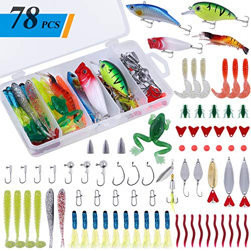 PLUSINNO 78Pcs Freshwater Fishing Lures Baits Tackle Kit, Fishing Accessories with Spoon Lures,...