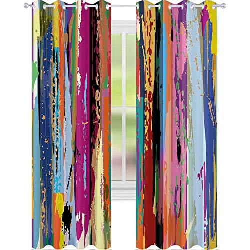 Cortinas opacas para niños, multicolor, diseño de arco iris vibrante con estampado teñido, 2 paneles de ancho de 52 x 84 cm de largo y oscurecimiento para ventana, para dormitorio, multicolor