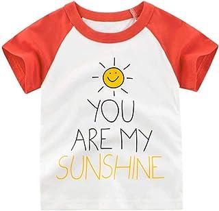 تي شيرت بأكمام قصيرة للأطفال الصغار من الأولاد والبنات الصغار ملابس الصيف قمصان علوية (أحمر، 4-5 سنوات)