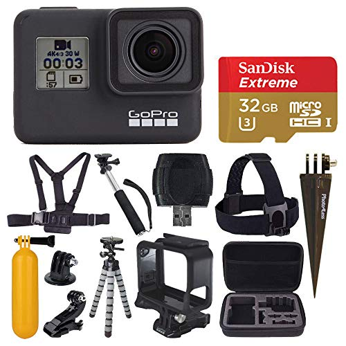 GoPro HERO7 Black Digital Action Camera with 4K HD Video 12MP Photos, SanDisk 32GB Micro SD Card, Hard Case - Gopro Hero 7 Accessory bundle
