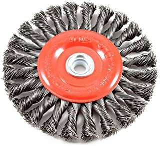 Forney 72749 Wire Wheel Brush, Twist Knot Crimped with 1/2-Inch and 5/8-Inch Arbor, 6-Inch-by-.020-Inch