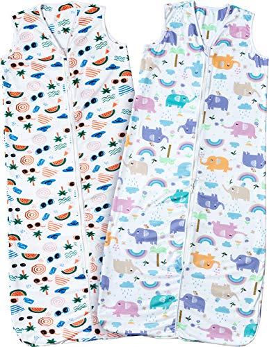2er Schlafsack Baby Baumwolle Sommerschlafsack Ärmellos Babyschlafsack Doppelter Reißverschluss Einstellbar 90-110cm für Neugeborene Junge und Mädchen 18-36 Monaten