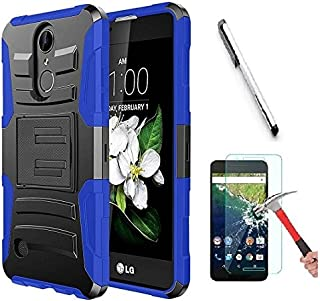 Luckiefind Case Compatible with LG Rebel 4 (L212VL, TracFone 2018 Release) / Lg Aristo 2 / Tribute Dynasty, Hybrid Armor Stand Case with Holster and Locking Belt Clip (Holster Blue)