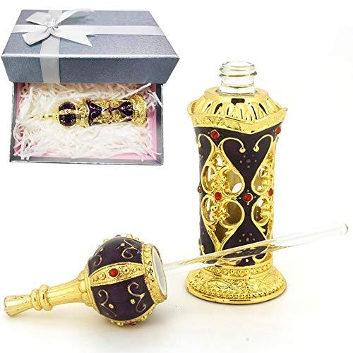 Botella de perfume 12 ml Estilo castillo retro, Embalaje de caja de regalo, lujo vacía botella de cristal recargable, Morado y dorado