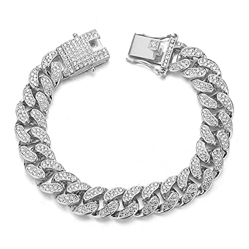 Rayfond Chains for Men Gold with Diamonds Iced Out 14mm Cuban Link White Gold Plated Bracelet Handmade 8' Birthday Gift Party Jewelry