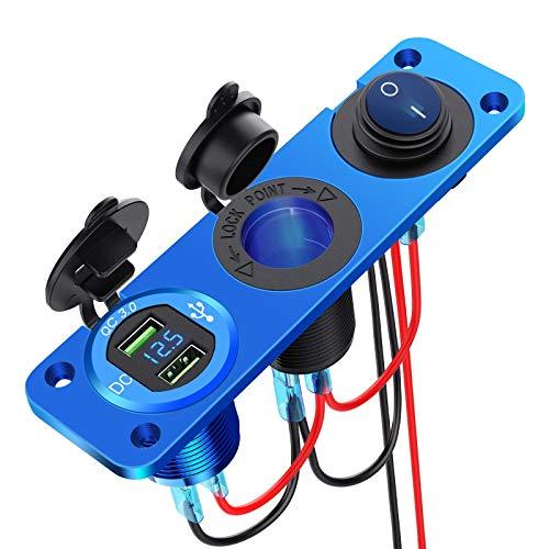 YGL Presa accendisigari marina 12V-24V,Pannello in lega di alluminio doppio USB / QC3.0 impermeabile da 36 W, con voltmetro LED e interruttore, utilizzato per auto, auto, rimorchi, navi(Blu)