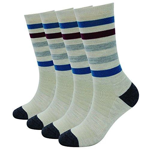 EnerWear 4 Pack Women's Merino Wool Outdoor Hiking Trail Crew Sock (US Shoe Size 4-10, Khaki Stripe)