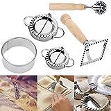 Ravioli Dumpling Maker Cutter Stamp Set, Ravioli Mold with a Roller, for Pasta Lasaña Tortellini, Juego de herra mientas de cocina para principiantes (paquete de 5)