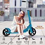 OppsDecor Adult Scooter with 3 Seconds Easy-Folding System 200mm Big Wheels Teens Commuter Scooter, 220lbs Adjustable City Scooter Age 8 Up (Blue)