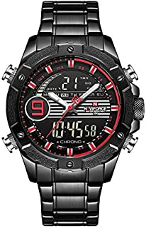 Naviforce Men's Black Dial Stainless Steel Analog Watch - NF9146S-BBR