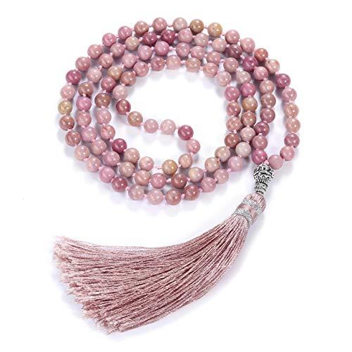 Top Plaza Womens 108MalaPrayerBeads Wrap Necklace with Long Tassel Healing Crystal Stone Rhodochrosite Necklaces Yoga Meditation Reiki Quartz Jewelry