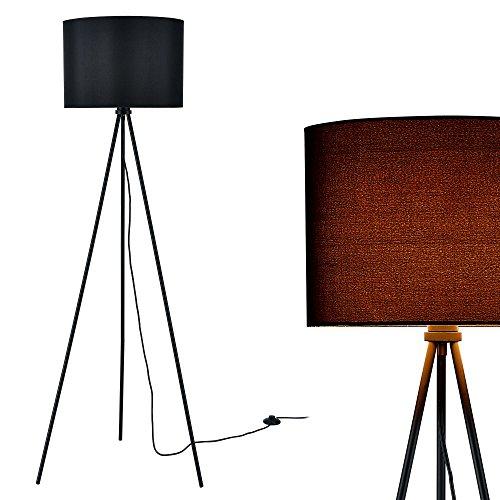 [lux.pro] Stehleuchte (1 x E27 Sockel)(150cm x 60cm) Stoffschirm (schwarz) Schirm und Dreifuß Stehlampe