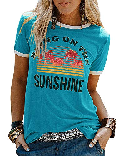 YEXIPO Bring On The Sunshine Graphic T-Shirt Loose Casual Summer Funny Tops