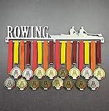 Rowing - Colgador de medallas Deportivas - Medallero de Pared Atleta de Remo, Regata - Sport Medal Hanger - Display Rack (750 mm x 115 mm x 3 mm)