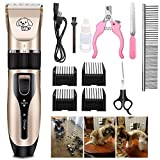 Dog Clippers, Rechargeable Low Noise Cordless Pet Clippers, With 4 Guide Combs and Cleaning Brush Nail Kits