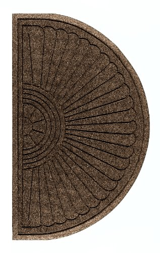 M+A Matting 2246 Waterhog Eco Grand Premier PET Polyester Fiber Half Oval Entrance Indoor/Outdoor Floor Mat, SBR Rubber Backing, 2.3' Length x 4' Width, 3/8