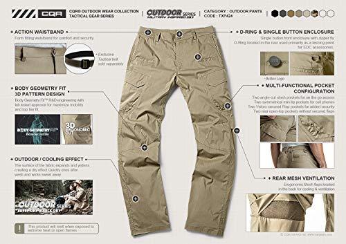 CQR Men's Hiking Pants, Water Repellent Outdoor Pants, Lightweight Stretch Cargo/Straight Work Pants, UPF 50+ Outdoor Apparel, Driflex Cargo Charcoal, 32W x 30L