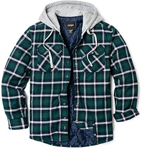 CQR Herren Kapuzen Gesteppte Gefüttert Flanell-Hemd Jacke, Lange Hülse Plaid Button Up Jackets, Hok720 1pack - Green Ombre, S
