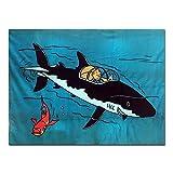 Moulinsart Manta Polar Azul Tintín el Tiburón Submarino 100% Poliéster (130x160cm)